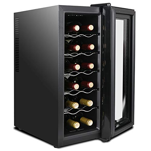 Cypress Shop Wine Bottles Cooling Refrigerator Cooling Fridge Collars Chiller Cooler Over Counter Freestanding Thermoelectric Counter Top Storing Thermostat Wine Cabinet (12 Bottles Holder)