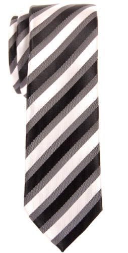 Retreez Retro Three-Color Striped Woven Microfiber Skinny Tie - Black, Grey, White by Retreez