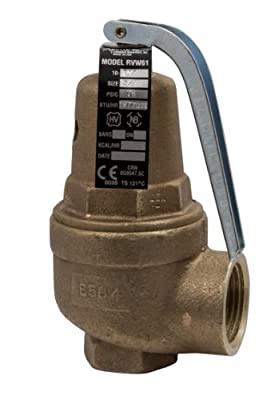 "Apollo Valve 10-600 Series Bronze Safety Relief Valve, ASME Hot Water, 30 psi Set Pressure, 1-1/2"" x 2"" NPT Female from Conbraco"