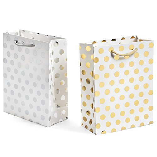 - Haute Soiree - 12 Pack - Medium Sized Gift Bags Set with Rope Handles - 6 Gold and 6 Silver Polka Dot Bags Perfect for Weddings, Birthday and Holiday Presents