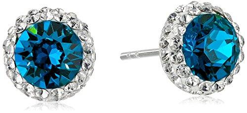 (Sterling Silver Swarovski Crystal Halo Turquoise Stud Earrings)