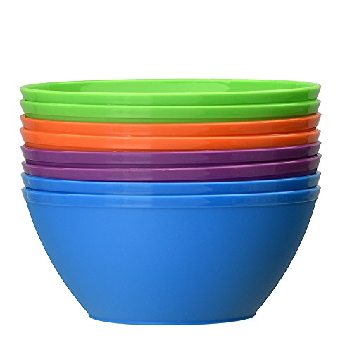 Fresco 6-inch Plastic Cereal/Soup Bowls   set of 8 in 4 Classic Colors by US Acrylic (Image #2)