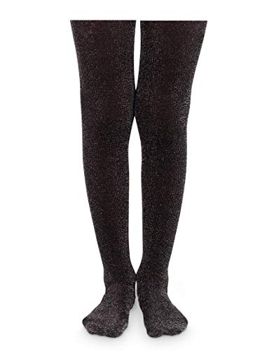 Jefferies Socks Big Girls' Sparkly Tights, Black, 6-8 Years