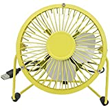 "4""Mini Portable Metal Desk Fan USB Powered 4 Blades Cooling Fans (Yellow)"