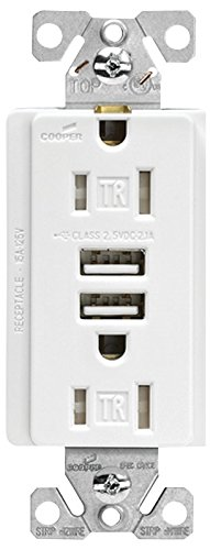 Cooper Wiring TR7755W-K RECEPTACLE TMPRPRF USBCHRG WHT, White, 3 Count ()