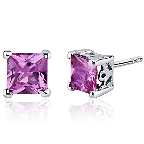 Ring Pink Princess Sapphire (Created Pink Sapphire Princess Stud Earrings Sterling Silver 2.50 Carats)