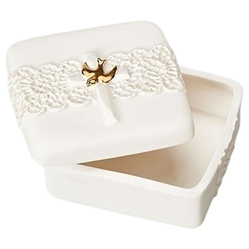 Cross Gold Tone Dove Ivory Lace Detail 2.5 x 2.5 Porcelain Memory Trinket Box (Dove Porcelain)