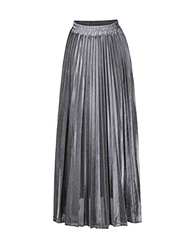 Geckoistail Women's Luster Elegant Pleated A Line Long Maxi Elastic Waist Retro Skirt(C001Silver-XL) ()