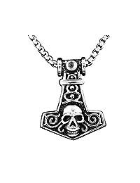 Viking Norse Myth Skull Thor's Hammer Mjolnir Pendant Necklace + Chain