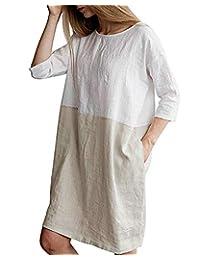 GZBQ Women Soft Linen Cotton Oversized 3 4 Sleeve Loose T Shirt Dress with Pockets