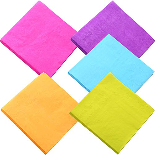 TecUnite 100 Pieces Beverage Paper Napkins Cocktail Napkin 2 Ply, Mixed Color -