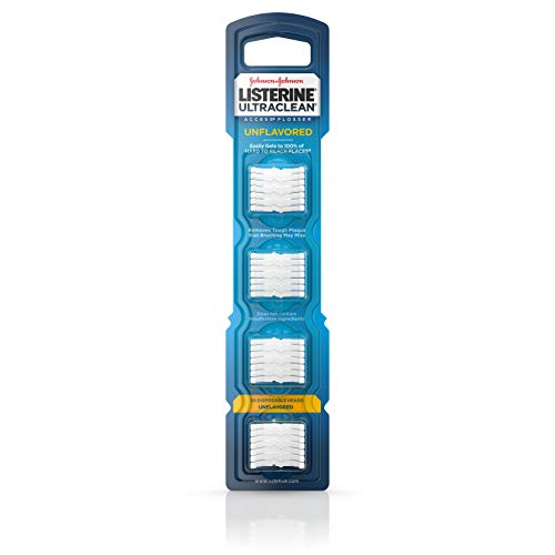 Listerine Ultraclean Access Disposable Snap-On Flosser Refill Heads For Proper Oral Care, Unflavored, 28 Count (Floss Reach Access)