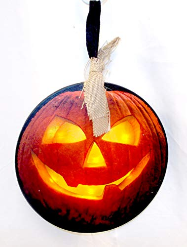 Light Up Jack O Lantern Triangle Eyes Normal Mouth Head Hanger 14' NWT