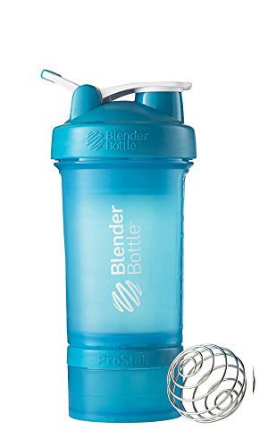 BlenderBottle ProStak System with 22 Ounce Bottle and Twist n' Lock Storage, Aqua/Aqua