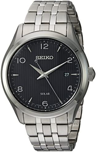 Seiko Mens Dress Japanese-Quartz Watch with Stainless-Steel Strap, Silver, 17.5 Model SNE489