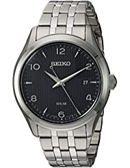 Seiko Mens  Quartz Stainless Steel Dress Watch, Color:Silver-Toned (Model: SNE489)