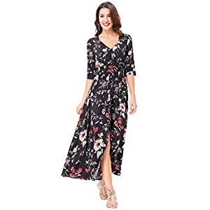 Kate Kasin Women's Summer Floral Button up Split Flowy Party Maxi Dress KK652