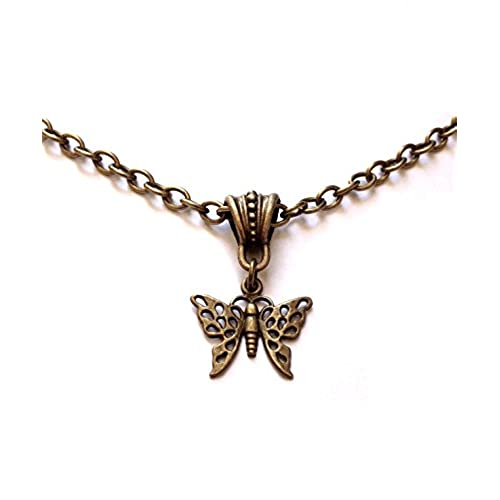 1e5c7e4be2c9df 8th Wedding Anniversary - Vintage Butterfly Filigree Bronze Necklace -  Wrapped & Gift Boxed 50%OFF