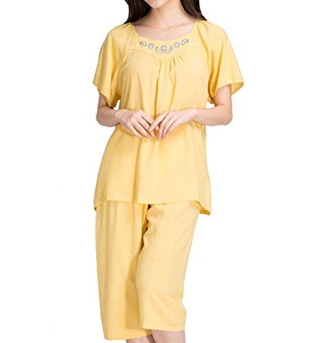 Juego Del Ocio Pijama De Algodón De Verano Sra. Yellow