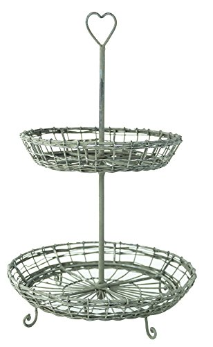 Two Tiered Rustic Wire Tray Basket with Handle Cottage Style