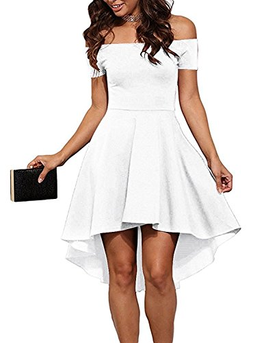 Sexy White Dress Plus Size (Womens Off Shoulder Short Sleeve High Low Skater Dress 2X-large White)