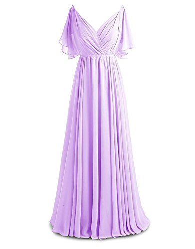 Gown Neck Botong Bridesmaid Pleat Prom Chiffon Evening Long V Party Lavender Dress 4vwq4p