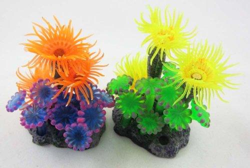 2 ×Aquarium Fish Tank Silicone Sea Anemone Artificial Coral Ornament MI403 by Given-Arts
