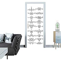 Anmaseven Door Sticker Line Text dividers Set Isolated on White Background Horizontal Ornate rulers Door Sticker Mural 27x59(69x150 cm)
