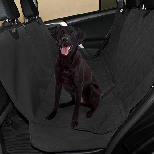 Plush Paws Products Waterproof Pet Seat Cover Non-Slip Hammock with Bonus Two Seat Belts and Two Dog Harnesses (Black)
