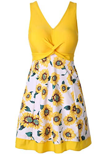 Cat Body - NO NO CAT One Piece Shaping Body Floral Swimwear Plus Size Bathing Suit for Women (Sunflower, 3XL(US 22W- 24W))