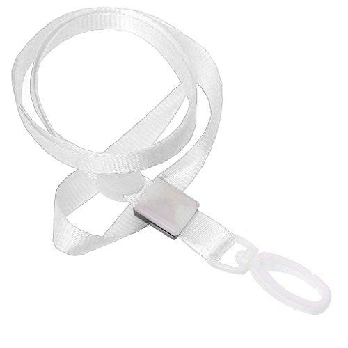CKB Ltd Pack Of 100 White Pro Lanyards Neck Strap With Swivel Plastic Clip For An Id Card - Regulation Sunglasses