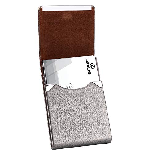 MaxGear Leather Business Card Case Slim Business Card Holder Professional Name Card Holder with Magnetic Shut Grey