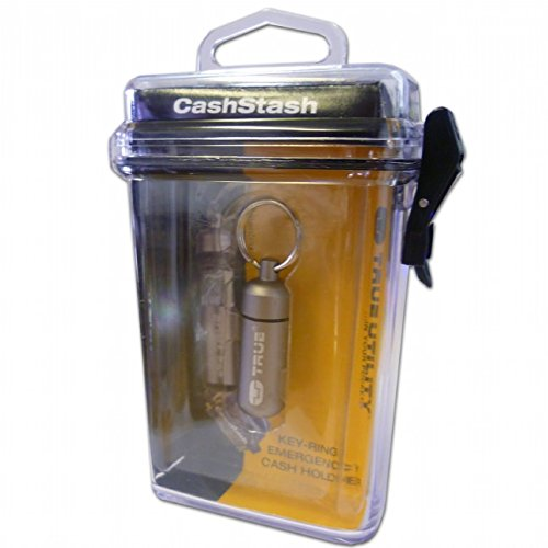 All Star Key Tag - True Utility CashStash Waterproof Emergency Cash Capsule for Key Ring, Grey