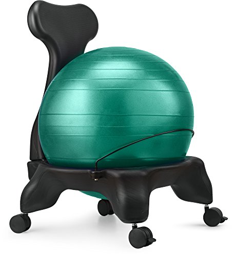 Ball Chair, LuxFit Premium Fitness Exercise Ball Chairs For Home And Office 2 Year Warranty! With 2000lbs Static Strength Ball Great Office Desk Chair, and Stability Ball Chair (Green)