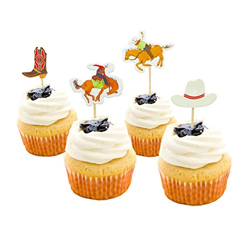 Cowboy Themed Cake Topper Mankujin 48 Pack Birthday Party Cupcake Toppers Cake Decorations for Baby Shower -