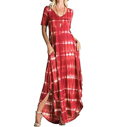 FEITONG Women's Casual Striped Maxi Short Sleeve Split Tie Dye Long Dress with Pocket(Small,Red) (Red White And Blue Tie Dye Tank Tops)
