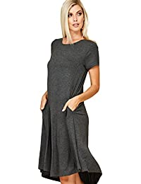 Women's Comfy Short Sleeve Scoop Neck Swing Dresses with...