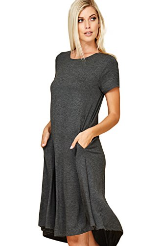- Annabelle Women's Comfy Short Sleeve Scoop Neck Swing Dresses with Pockets Small Mid Grey D5213