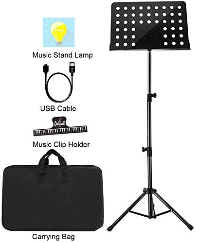 "Sheet Music Stand Lunies Highest 63"" Portable Violin Guitar Music Book Holder with LED Light,Paper clip,Carrying Bag Black from Lunies"