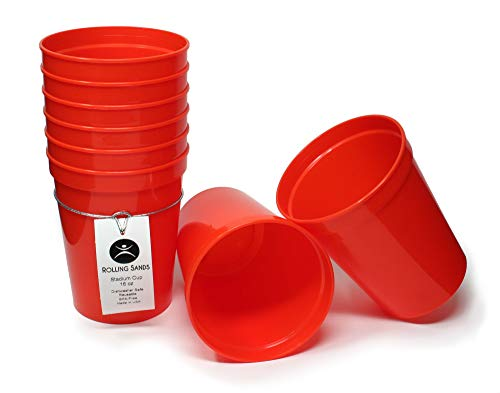 Rolling Sands 16oz Reusable Plastic Stadium Cups Orange (8 Pack, Made in USA, BPA-Free) Dishwasher Safe Plastic Tumblers
