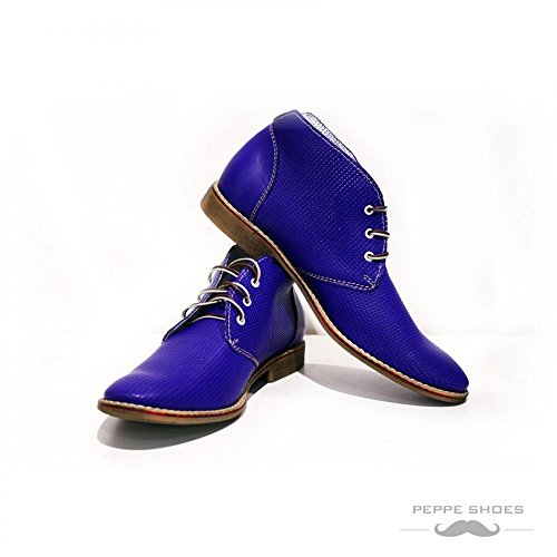 PeppeShoes Modello Bresica - Cuero Italiano Hecho A Mano Hombre Piel Azul Chukka Botas Botines - Cuero Cuero Repujado - Encaje