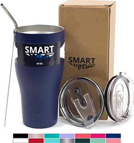 Tumbler 30 Oz Smart Cup - Ultra-Tough Double Wall Stainless Steel - Yeti Style - Premium Insulated Mug - Powder Coated - Leak-Proof, Sliding Lid, Straw, Brush & Gift Box - Navy Blue