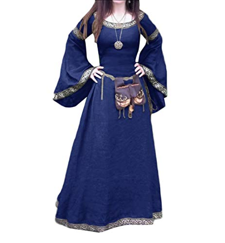 Women Medieval Halloween Costume Plus Size Horn-Sleeve Party Dress Blue -