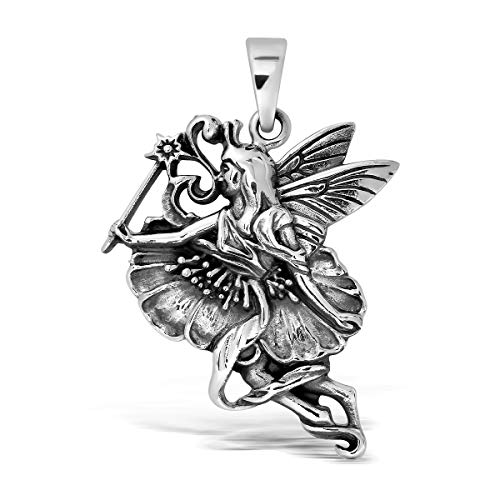WithLoveSilver 925 Sterling Silver Charm Fairy Angel with Magic Wand Pendant