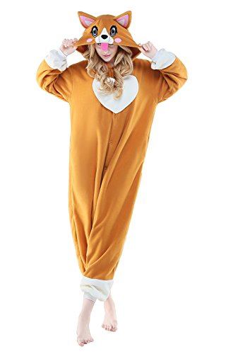 CANASOUR Polar Fleece Adult Anime Unisex Women's Onesie Pajamas (Large, Corgi Dog) ()