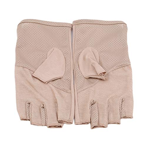 (LANWF Half Finger Gloves Anti-Skid Driving Gloves Breathable Sun Protection Fitness Climbing Sports Bicycle Outdoor Fingerless Gloves,Khaki)