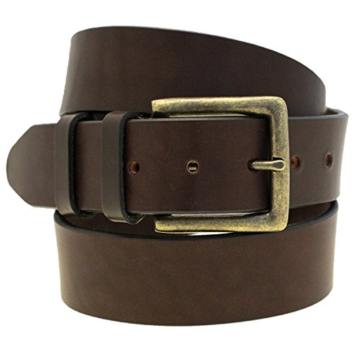 1 1/2 Dark Brown Bridle Leather Belt Antique Brass Buckle Made In USA Size 38