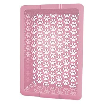 Shake and Rake 17 by 14 by 5-Inch Recyclable Plastic Manual Cat Litter Sifter, Pink