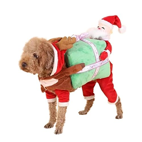 Guinea Pig Dog Costume (WeeH Dog Costume Christmas Cosplay Clothes Cat Pets Ride-on Clothing Funny Halloween Accessories for Animal Puppy Kitty Rabbits Pig Piggy, L)