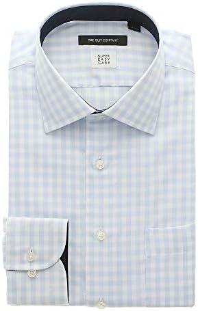 (ザ・スーツカンパニー) SUPER EASY CARE/ワイドカラードレスシャツ ギンガムチェック 〔EC・BASIC〕 サックスブルー×ホワイト